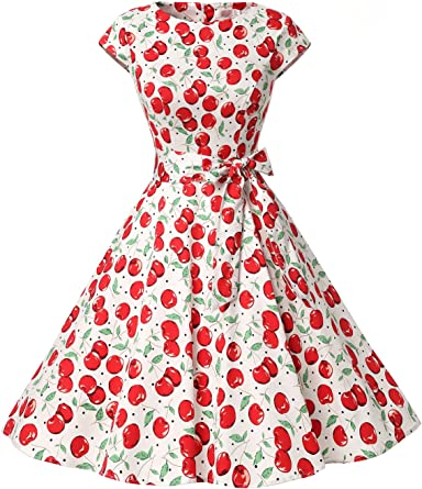 TALLA S. Dressystar Vintage 1950s Polka Dot and Solid Color Prom Dresses Cap-Sleeve Cherry2