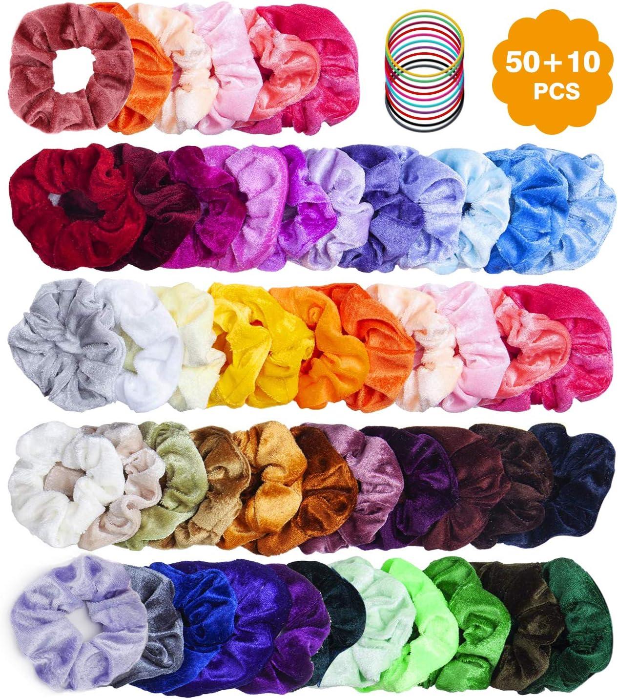 BEAU-PRO 60 gomas de pelo scrunchies terciopelo, incluidas 50 Colores Velvet Elástico coleteros de tela y 10 de goma elástica para el cabello, accesorios para el cabello suave para mujeres niñas