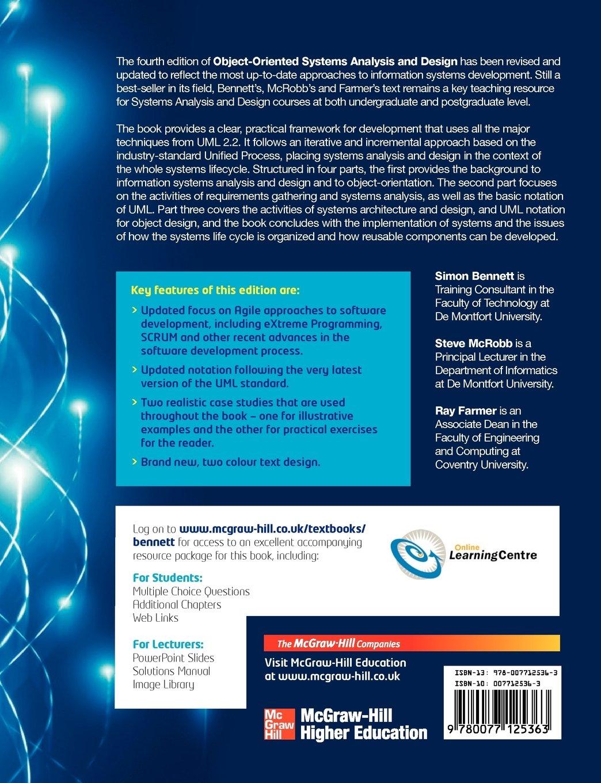 Object Oriented Systems Analysis And Design Using Uml Amazon Co Uk Bennett Simon Farmer Ray 9780077125363 Books