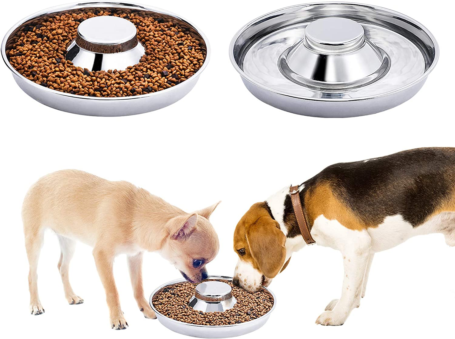 2 Pack Silver Stainless Steel Dog Bowl Puppy Slow Feeder Bowls for Food Feeding & Water Weaning Non-Skid Slow Feeder Healthy Metal Dog Bowl Dish for Small Medium Large Dog Cat Pet