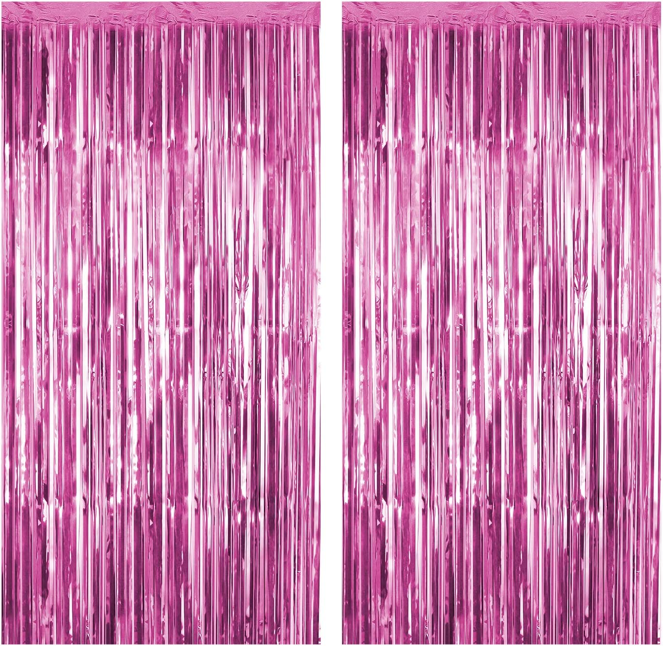 Foil Fringe Curtains Metallic Tinsel Mylar Curtain for Party Photo Backdrop Wedding Decor (Pink, 2-Pack)