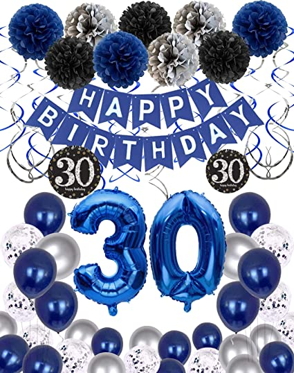 30th Birthday Decorations for Men Women Boy Girl,Blue Black Birthday Party Supplies with 30 Silver Number Balloon Happy Birthday Banner for 30th and 3rd Birthday Party