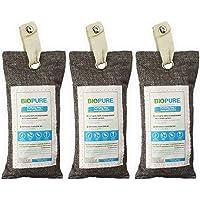 Biopure - Kit de 3 bolsas purificadoras - Carbón Activado 100% Biodegradable - Remueve malos olores, humedad, moho y alergenos - Ideal para closets, zapatos, baños, lockers, mini-bodegas, coches y mas - Incluye 3 bolsas de 75gr y 3 listones para colgar.