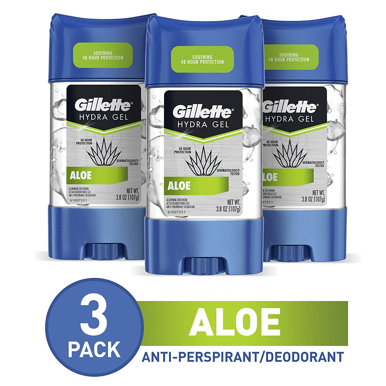 Gillette Antiperspirant Deodorant for Men, Hydra Clear Gel With Aloe, 3.8 Oz, Pack Of 3