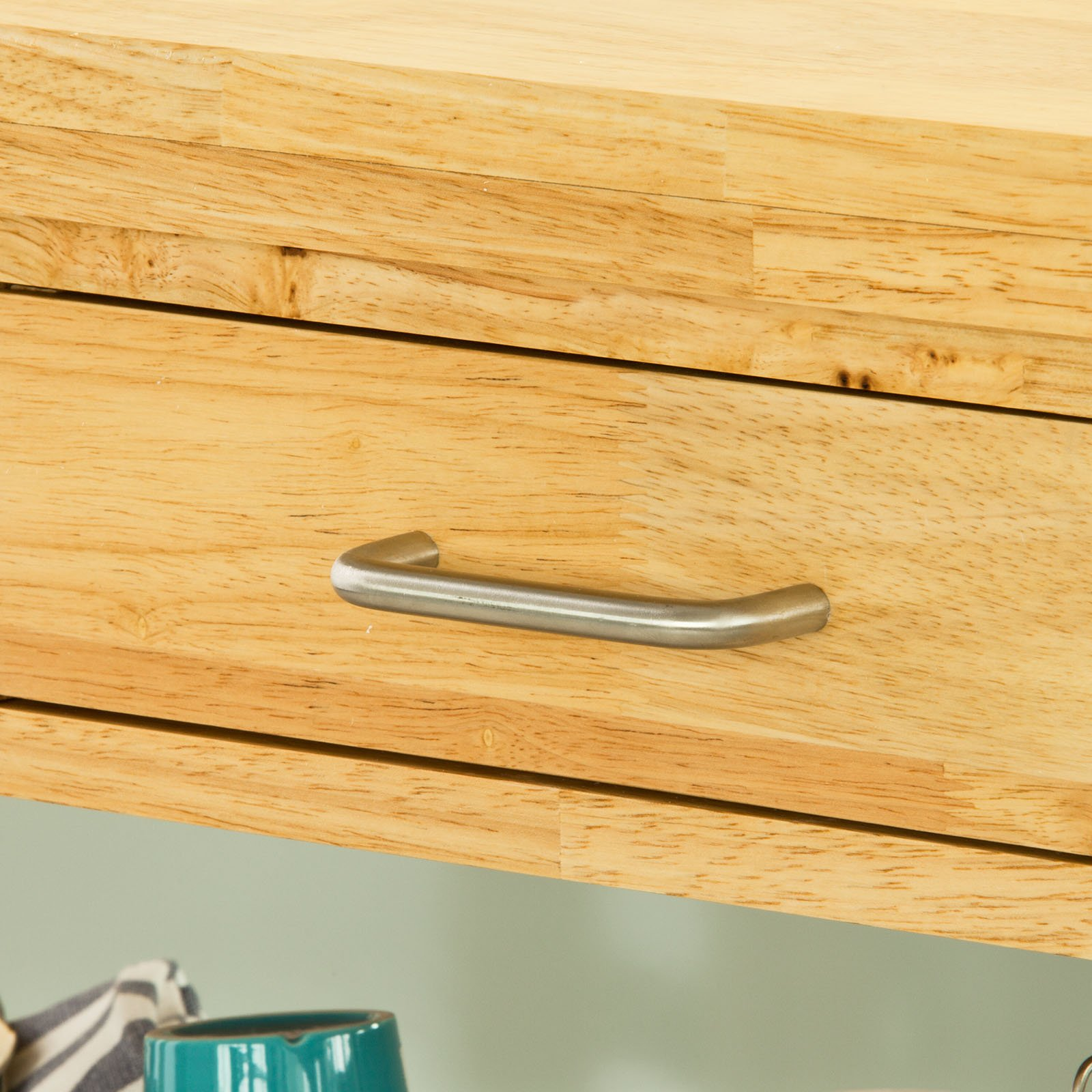 Haotian FKW24-N (natual), Rubber Wood Kitchen Trolley Cart with Two Drawers & Shelves, Kitchen Storage Trolley, L80cm(31.5in)xW40cm(15.7in)xH90cm(35.4in) by Haotian (Image #4)