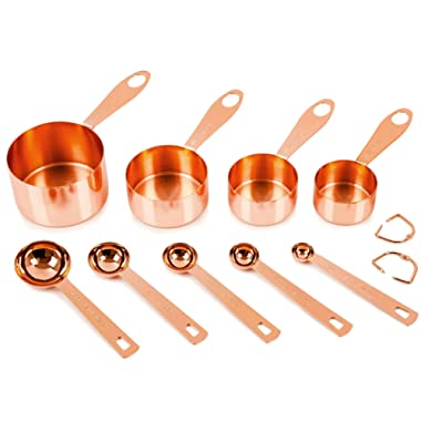 Copper Measuring Cups and Spoons, Set of 9: EXTRA STURDY Copper-Plated Top-Quality Stainless Steel. Satin + Mirror Polish. Engraved Both US & Metric Measurements. Copper Finish. By COPPER GEMZ