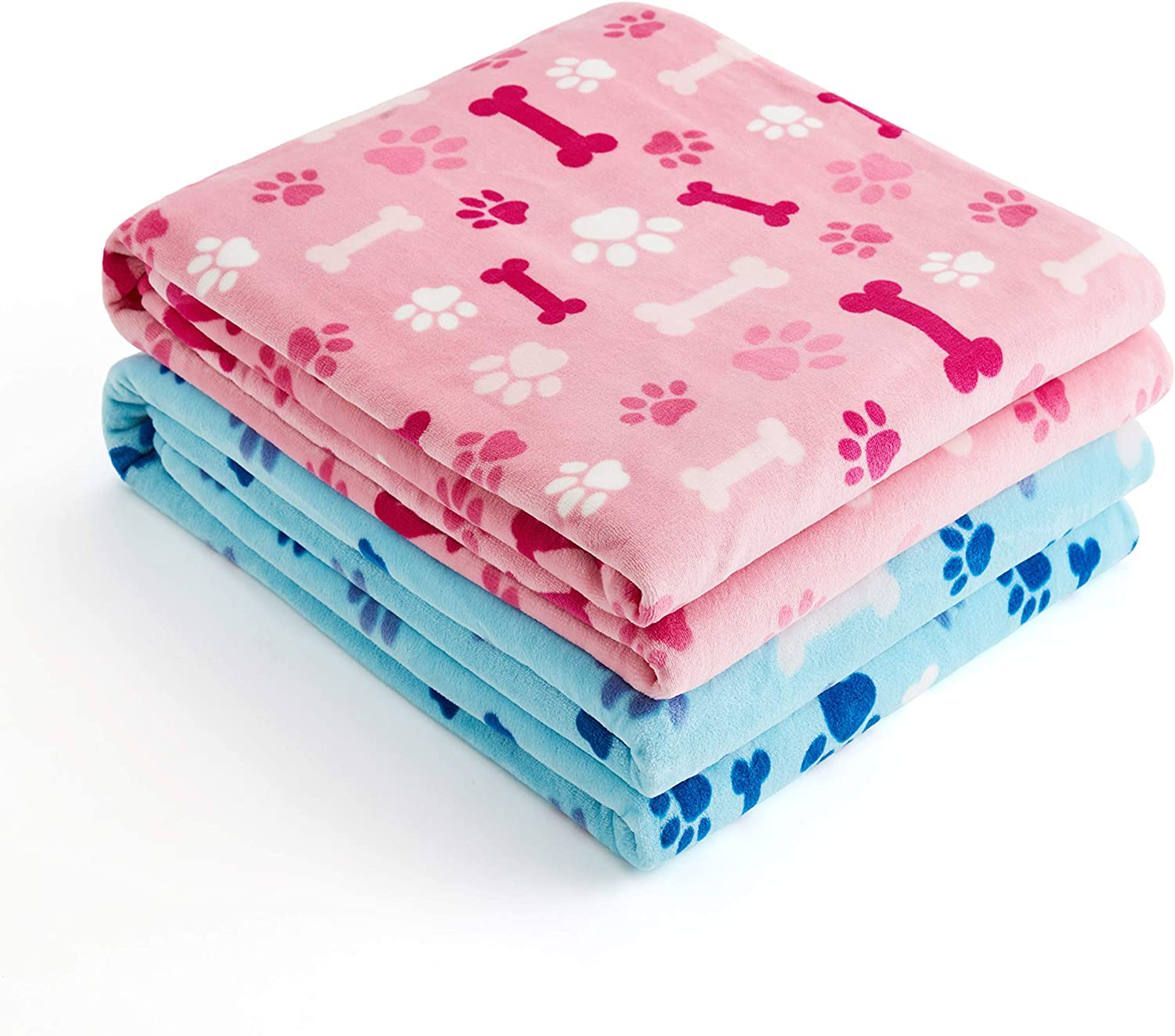 2 Pack Dog Cat Nap Fleece Blanket Throw, All Seasons Soothing Sky Tones Design, Machine Washable Pet Kitten Puppy Sleep Mat and Bed Cover, Pink and Blue, 32 x 24 Inches 81UO3mH5bRL