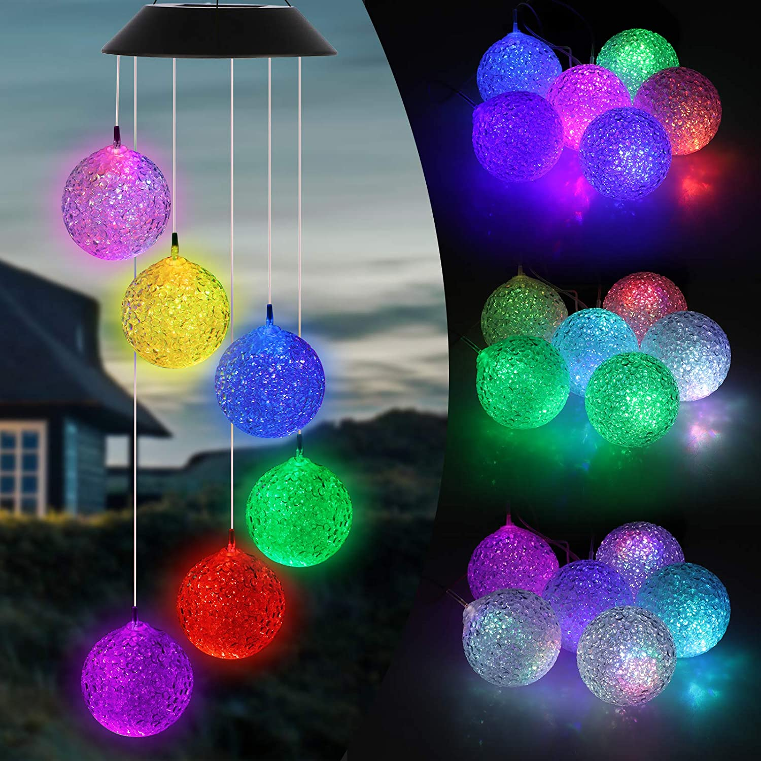 Solar Wind Chimes Outdoor, Color Changing Solar Ball Wind Chimes, Solar Powered String Lights Waterproof LED Decorative Mobile Romantic Lights for Home Yard Patio Garden Party Bedroom Window Decor