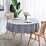 maxmill Jacquard Round Table Cloth Damask Design Waterproof Antiwrinkle Heavy Weight Soft Tablecloths for Circular Table…