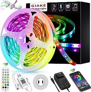 LED Strip Ligths,GIAKE 16.4Ft Smart Led Lights Strip SMD5050 Music Sync Color Changing RGB Lights APP Bluetooth Control + 24Key Remote, LED Lights for Bedroom Party Home
