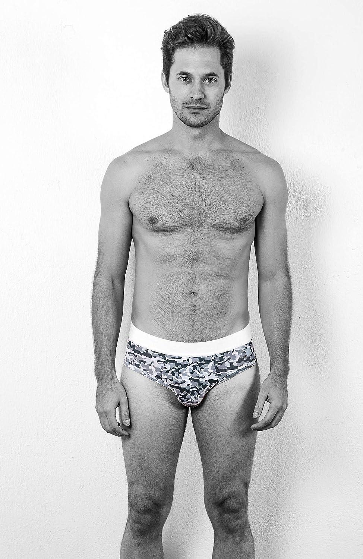 MR.U Men Underwear Brief Ultra Soft Breathable Premium Cotton Grey Camo Print Army Collection