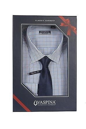 Uvaspina Camisa quadrettata gris y azul con corbata Azul azul ...