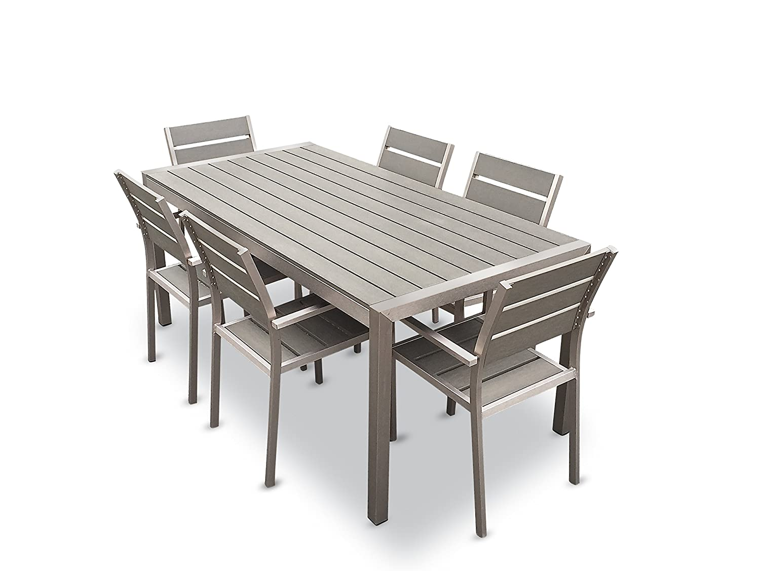 Amazon.com: Mango Home 7-Piece Aluminum Resin Square Dining Table ...