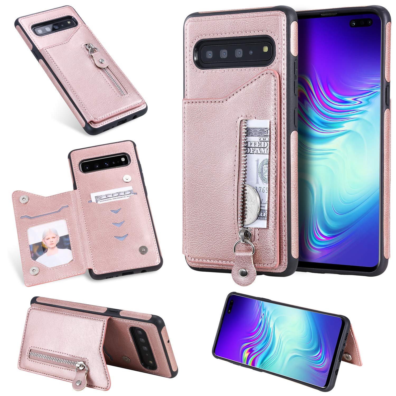 DAMONDY for Galaxy S10 5G Case,Zipper Wallet Purse Card Holders Design Cover Soft Shockproof Bumper Folio Flip Leather Kickstand Magnetic Clasp Case for Samsung Galaxy S10 5G 6.7inch-Rose Gold by DAMONDY