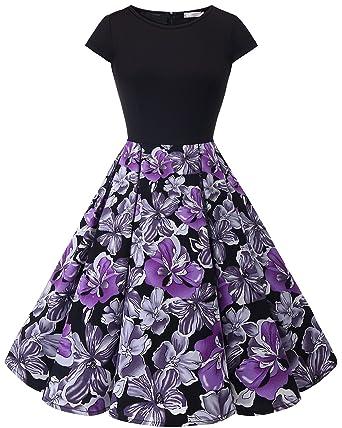 Homrain Damen 1950er Vintage Rundhals Cocktail Party Casual Rockabilly Kleid   Amazon.de  Bekleidung 2ce3eea0ca