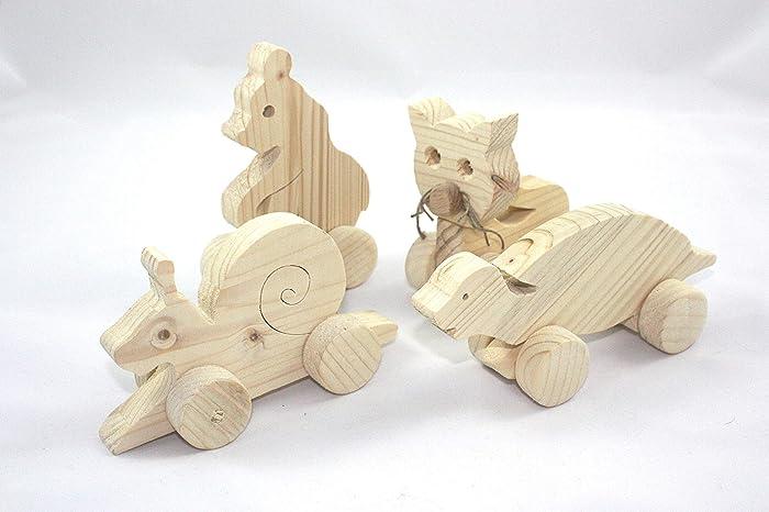 4er Set Kleine Tiere Aus Holz Auf Rädern Holzfiguren Zum Bemalen