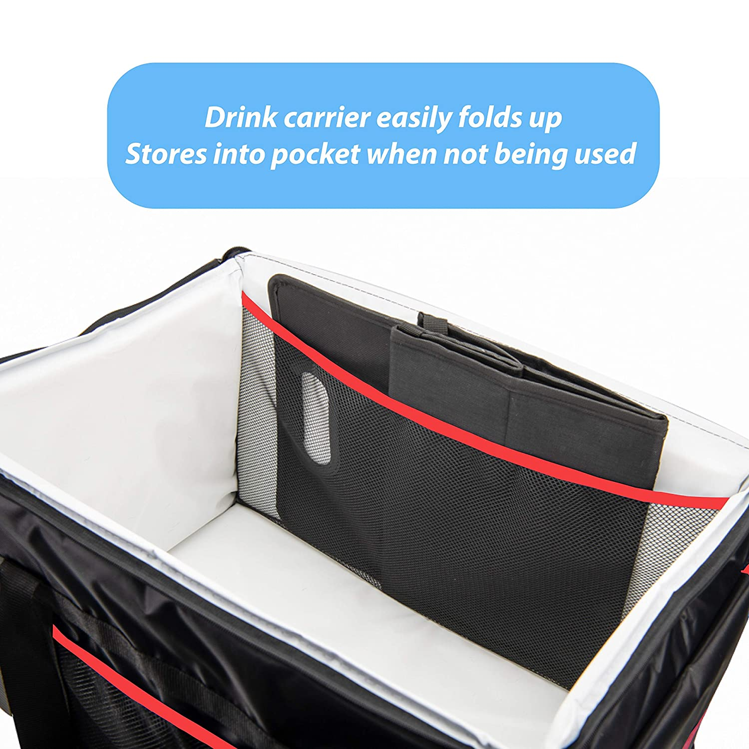 """Ultimate Insulated Food Delivery Bag with Drink Carrier  23/""""L x 14/""""W x 15/""""H"""