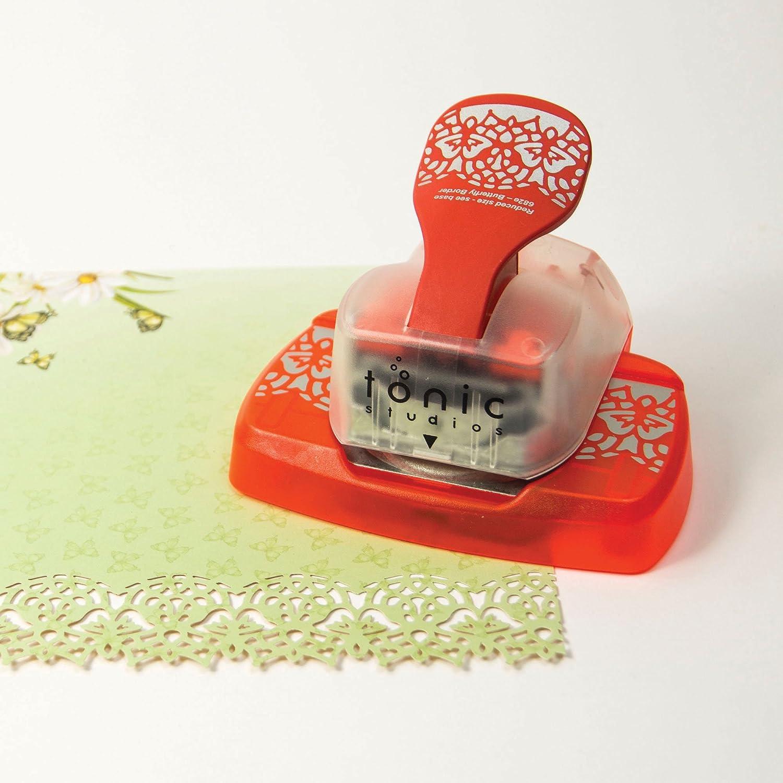 Motivo a Farfalle per Decorazioni e bordature Fustellatrice a Nastro Intrica Tonic Studios 682E Colore: Bianco//Arancione