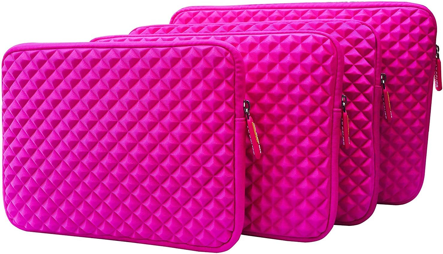 AZ-Cover 14-Inch Simplicity Stylish Diamond Foam Shock-Resistant Neoprene Sleeve (Hot Pink) For HP Probook 6460B 6460b 6450B Notebook PC - Intel Core