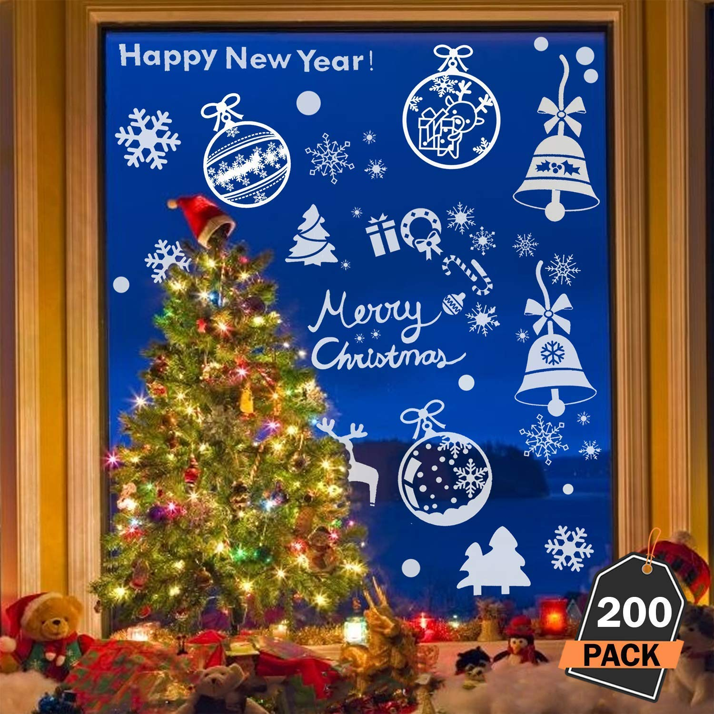 Kompanion 200 Piece Assorted Christmas Window Decals Set Winter