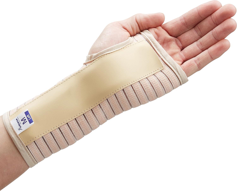 Transpirable Muñequera Elástica Con Férula- Perfecta para curar el síndrome de túnel carpiano, fracturas de muñeca, distensiones de muñeca o lesiones por esfuerzo repetitivo- Negra o beige. (Mediana D