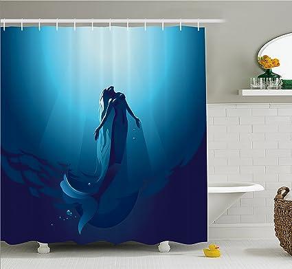 Amazon.com: Mermaid Shower Curtain Blue Decor by Ambesonne, Mermaid ...