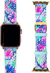 Lilly Pulitzer Genuine Leather Watch Band Sized to Fit 38mm & 40mm Smartwatches Compatible with Apple Watch Series 1, 2, 3, & 4, Beach You To It