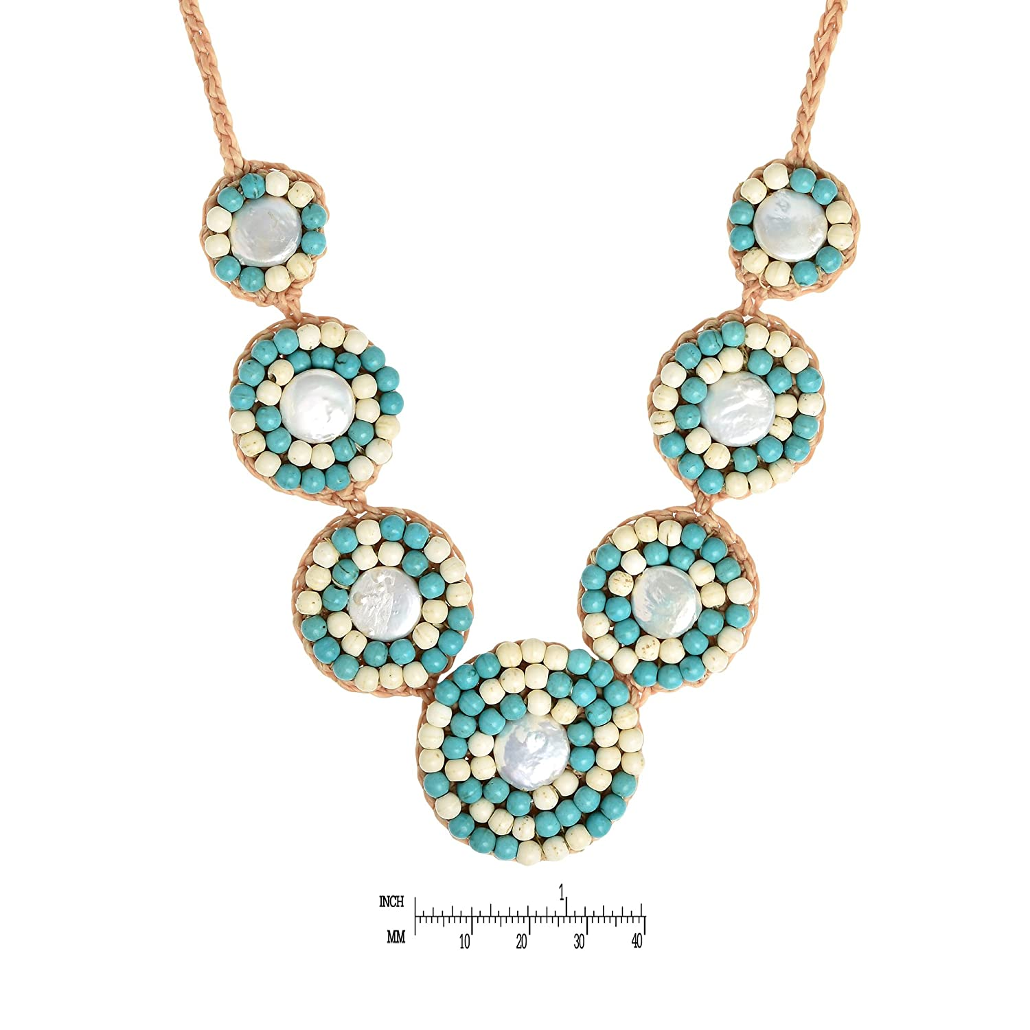 AeraVida Classy Simulated Turquoise Embellished Cultured Freshwater Pearl Handmade Collar Necklace