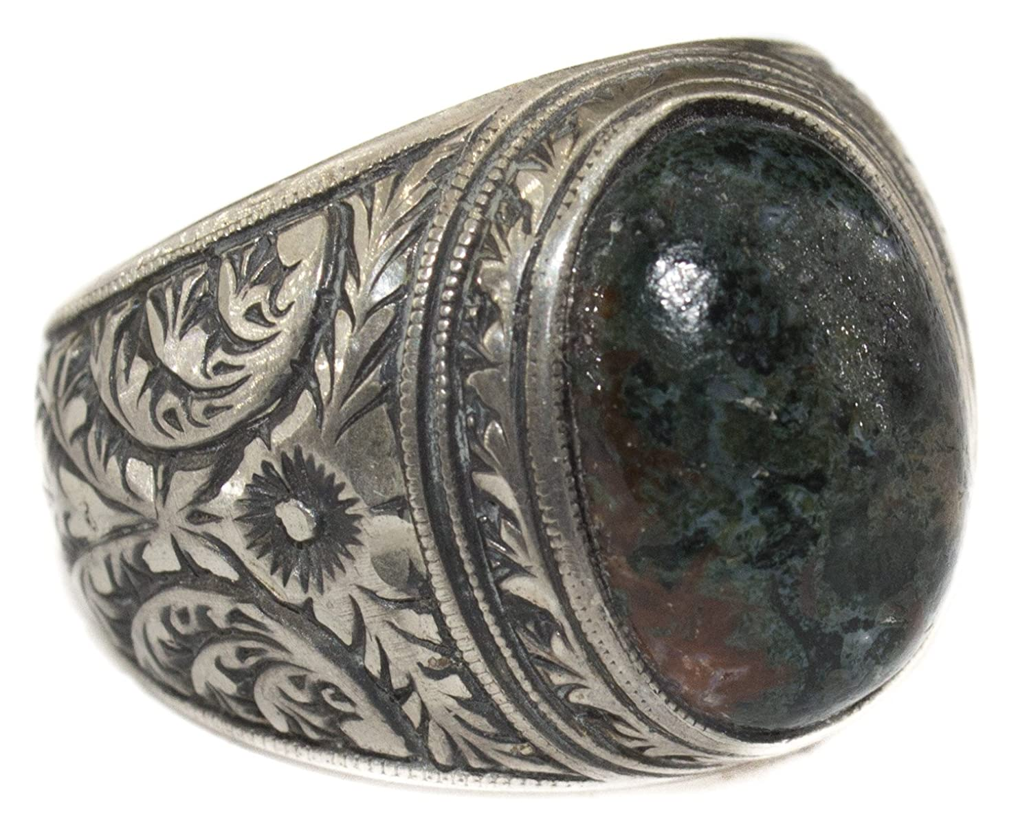 Sterling silver men ring, Steel pen processing handmade, Natural Bloodstone, Sizes 5 - 16