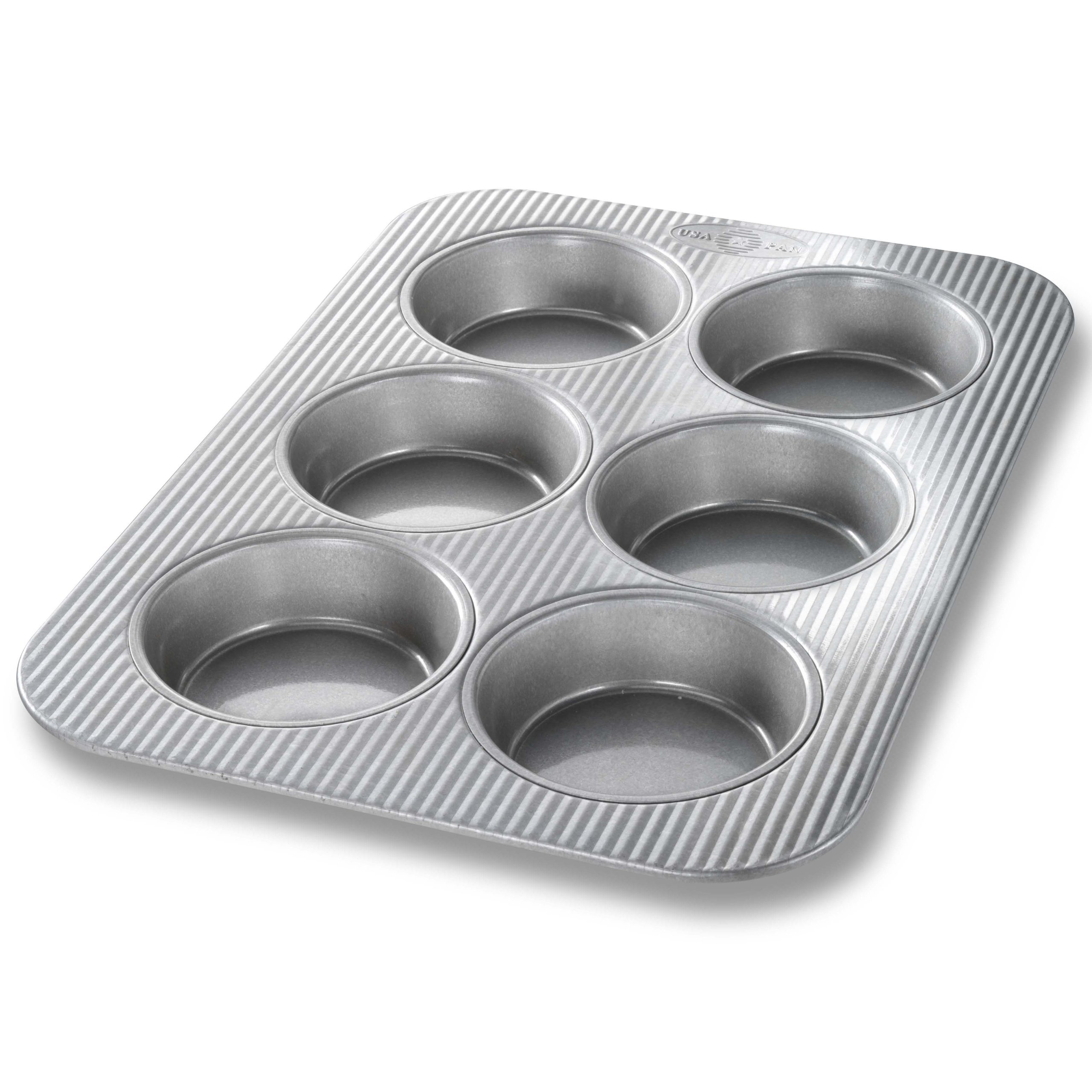 USA Pan Bakeware Mini Round Cake Pans, 6 Well, Nonstick & Quick Release Coating, Made in the USA from Aluminized Steel by USA Pan