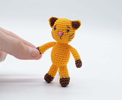 Juguete gato amarillo, animal de peluche, llavero de ...