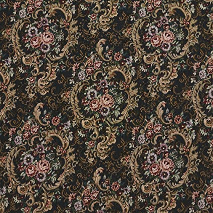 Amazon Com F642 Navy Gold And Burgundy Floral Tapestry Upholstery