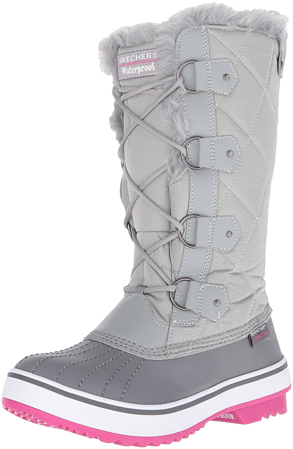 Skechers Women's Highlanders-Tall Quilt Snow Boot B01CEW24Z0 5.5 M US|Grey/Pink