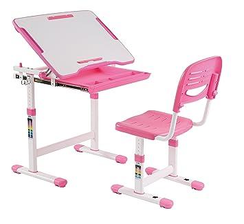 Mesa de estudio (mesa de dibujo) y silla para niños, altura ajustable,