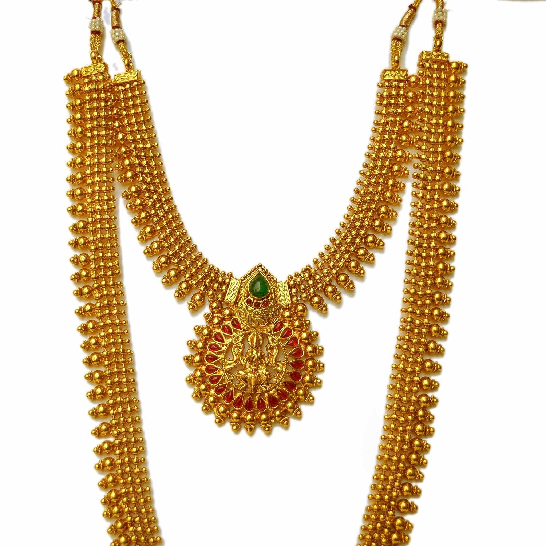 Buy Beeline Traditional Temple Design Long Haram Latest Gold ...