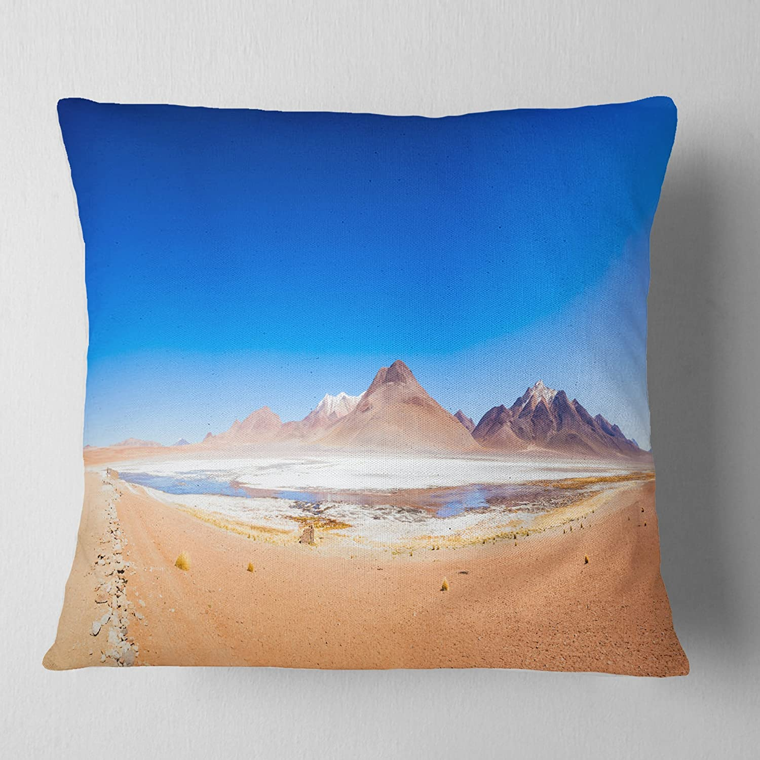 in Designart CU11569-26-26 Bolivia Altiplano Lake Panorama Modern Seascape Cushion Cover for Living Room Sofa Throw Pillow 26 in x 26 in