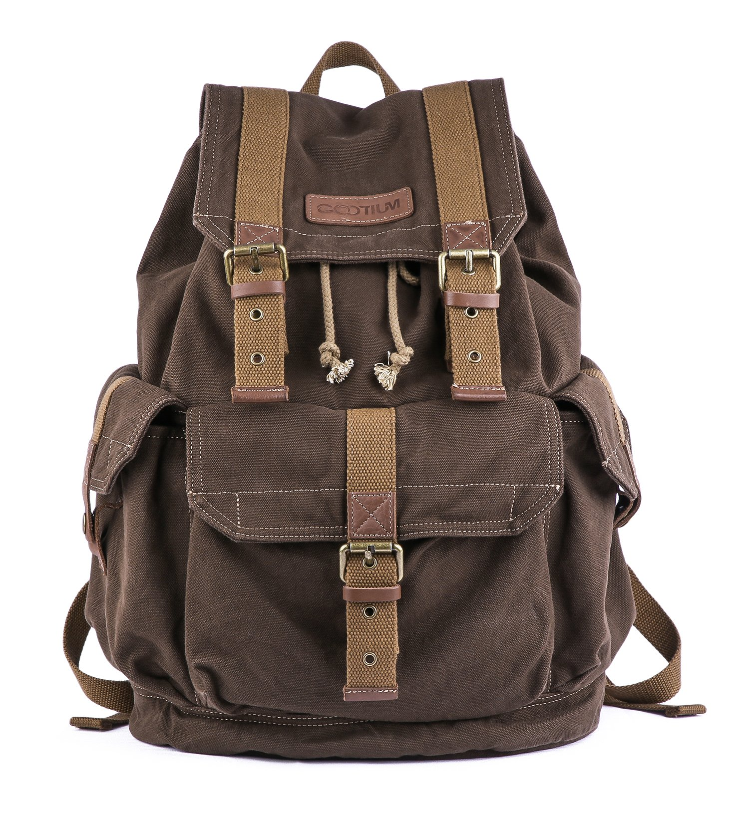 Gootium 21101CF Specially High Density Thick Canvas Backpack Rucksack,Coffee
