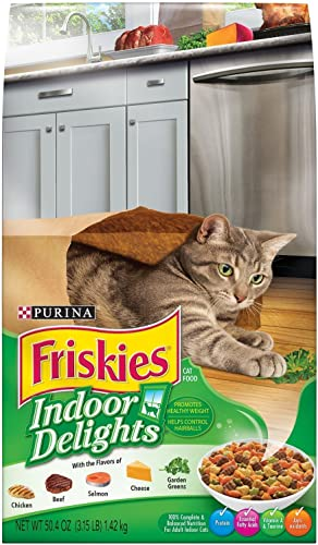 Purina Friskies Indoor Delights Dry Cat Food, 3.15 LB Bag Pack of 2