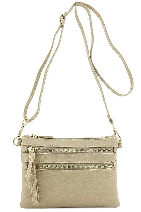Multi Zipper Pocket Small Wristlet Crossbody Bag (Beige Brick ... a6e7c51ea2c21