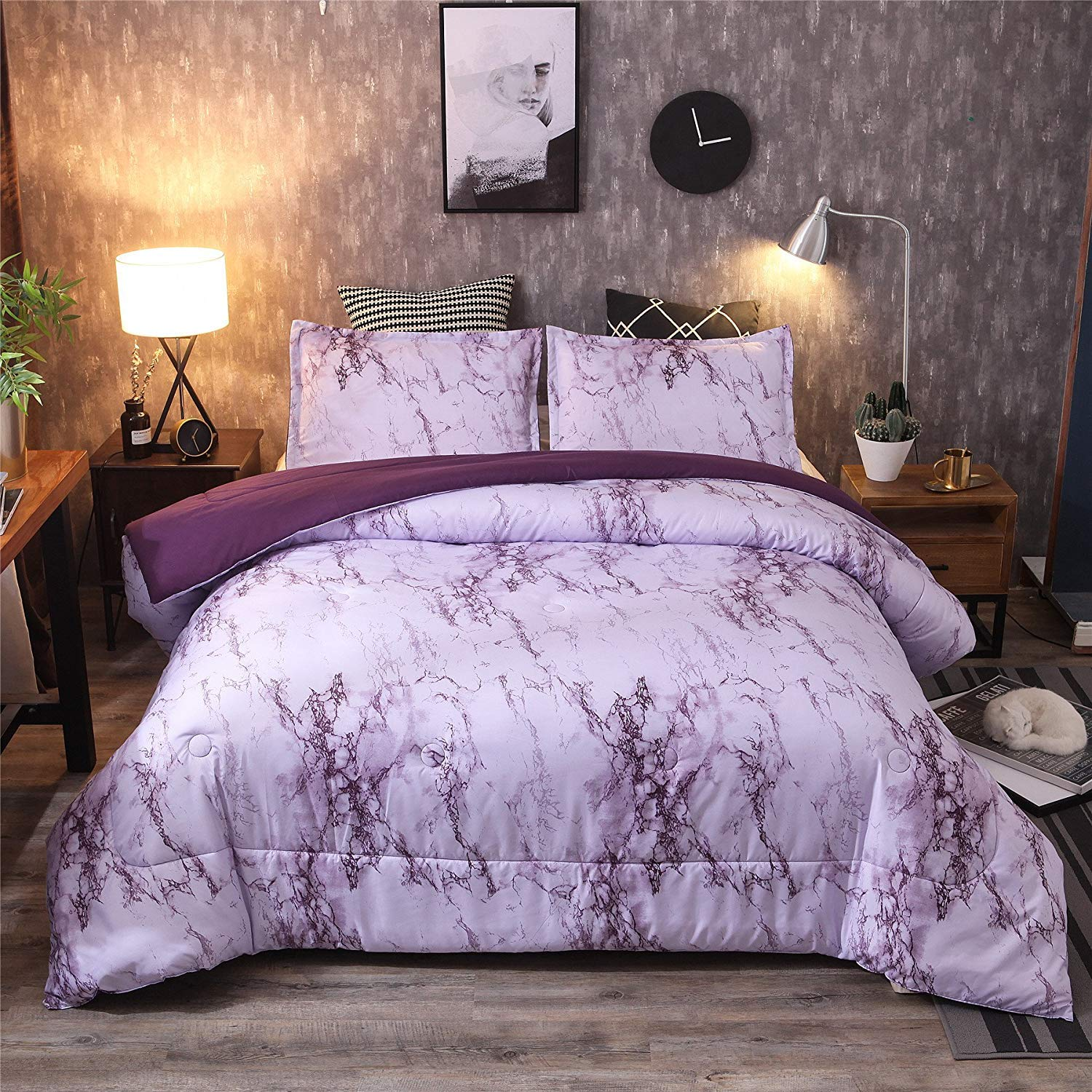 A Nice Night Marble Design Quilt Comforter Set Bed-in-a-Bag,Queen (Purple-Marble