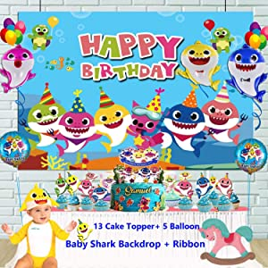 OPATER Baby Shark Birthday Balloon Party Supplies Decorations with 12 Cupcake Toppers 5 Shark Balloons and 1 Happy Birthday Backdrop Banner for Boys Girls Kids Baby Shower Party Decor