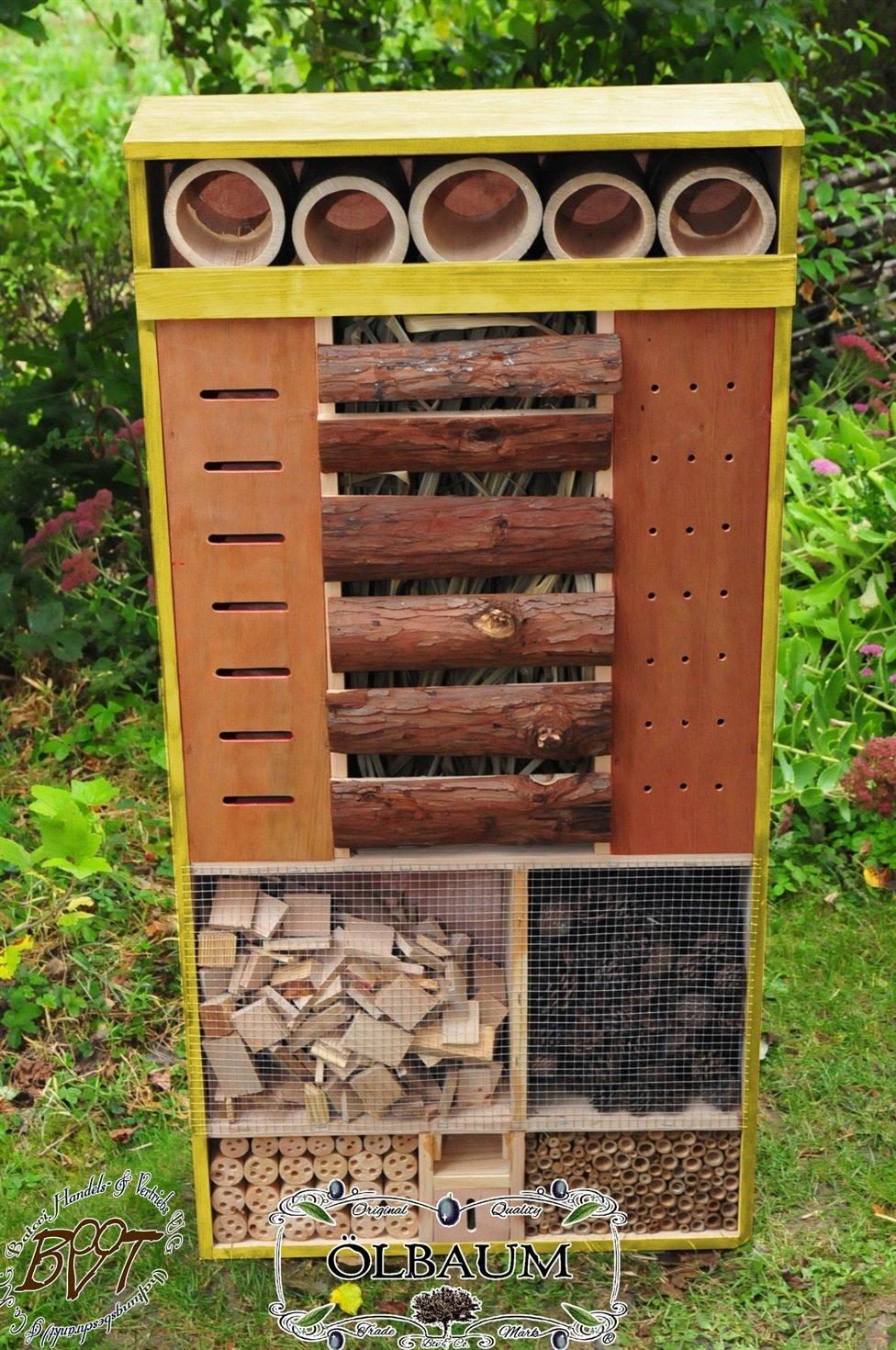 WETTERFEST 122 x 60 cm MEGA-XXL NEU BTV Batovi Insektenhotel Ausf/ührung Naturholz MIT WETTERSCHUTZ-Front f/ür trockenes Futter