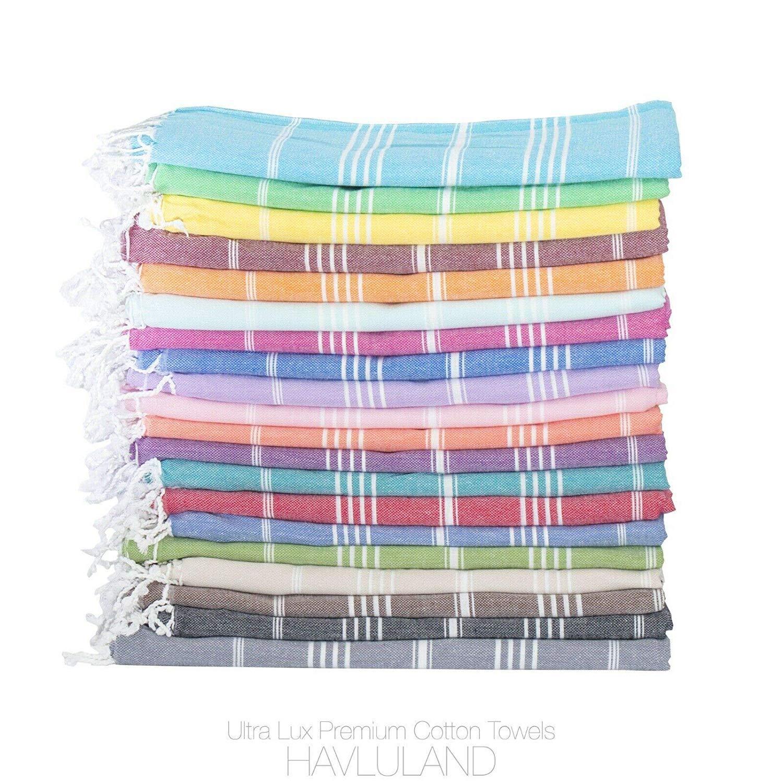 Havluland (SET of 6) 100% Turkish Cotton Bath Beach Hammam Towel Peshtemal Throw Foua Blanket Absorbent Set