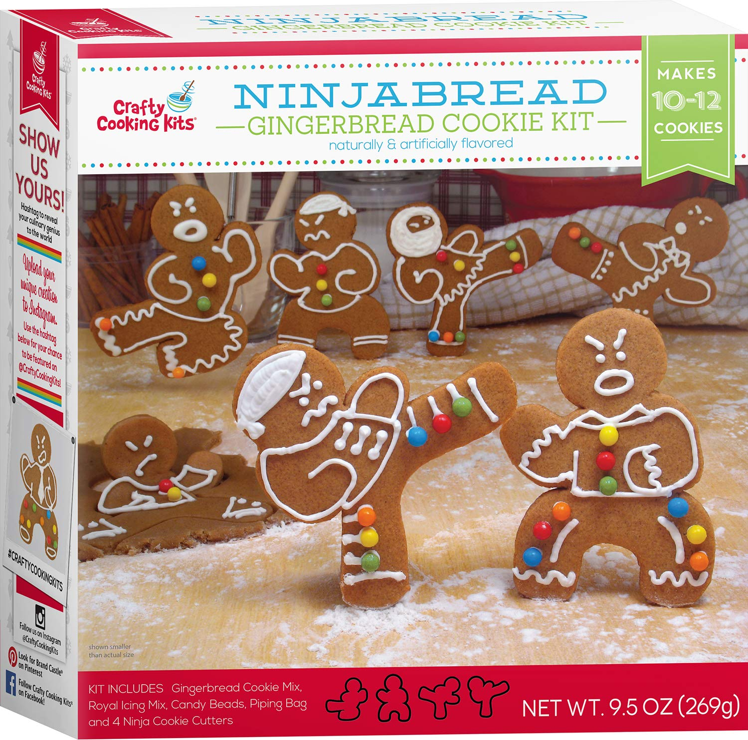 Ninjabread Gingerbread Cookie Kit - 9.5oz Baking Kit w/ Cookie Mix, Royal Icing Mix, Candy Beads, & Ninja Cookie Cutters - Crafty Cooking Kits - Yields 10-12 Ninjas