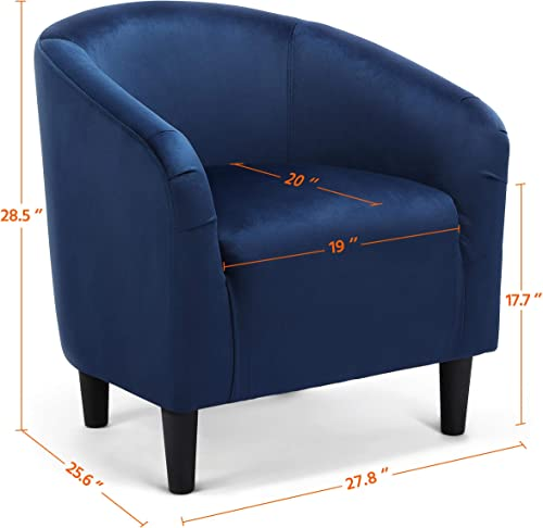 Topeakmart Velvet Club Chair Modern Accent Arm Chair Comfy Single Sofa Upholstered Barrel Chair