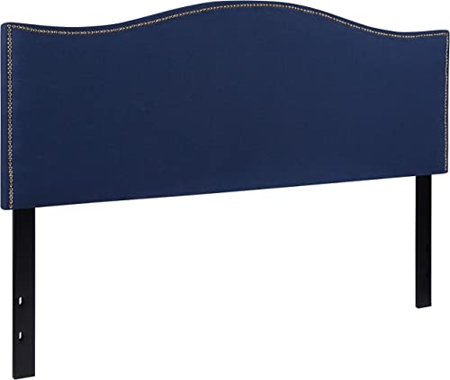 Flash Furniture Lexington Upholstered Queen Size Headboard with Accent Nail Trim in Navy Fabric –