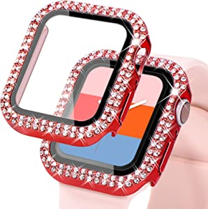 KADES Compatible for Bling Apple Watch Protective Case with Built-in Screen Protector for Apple Watch 38mm 40mm 42mm 44mm iWatch SE Series 6 5 4 3 2 1 (40mm, Red)