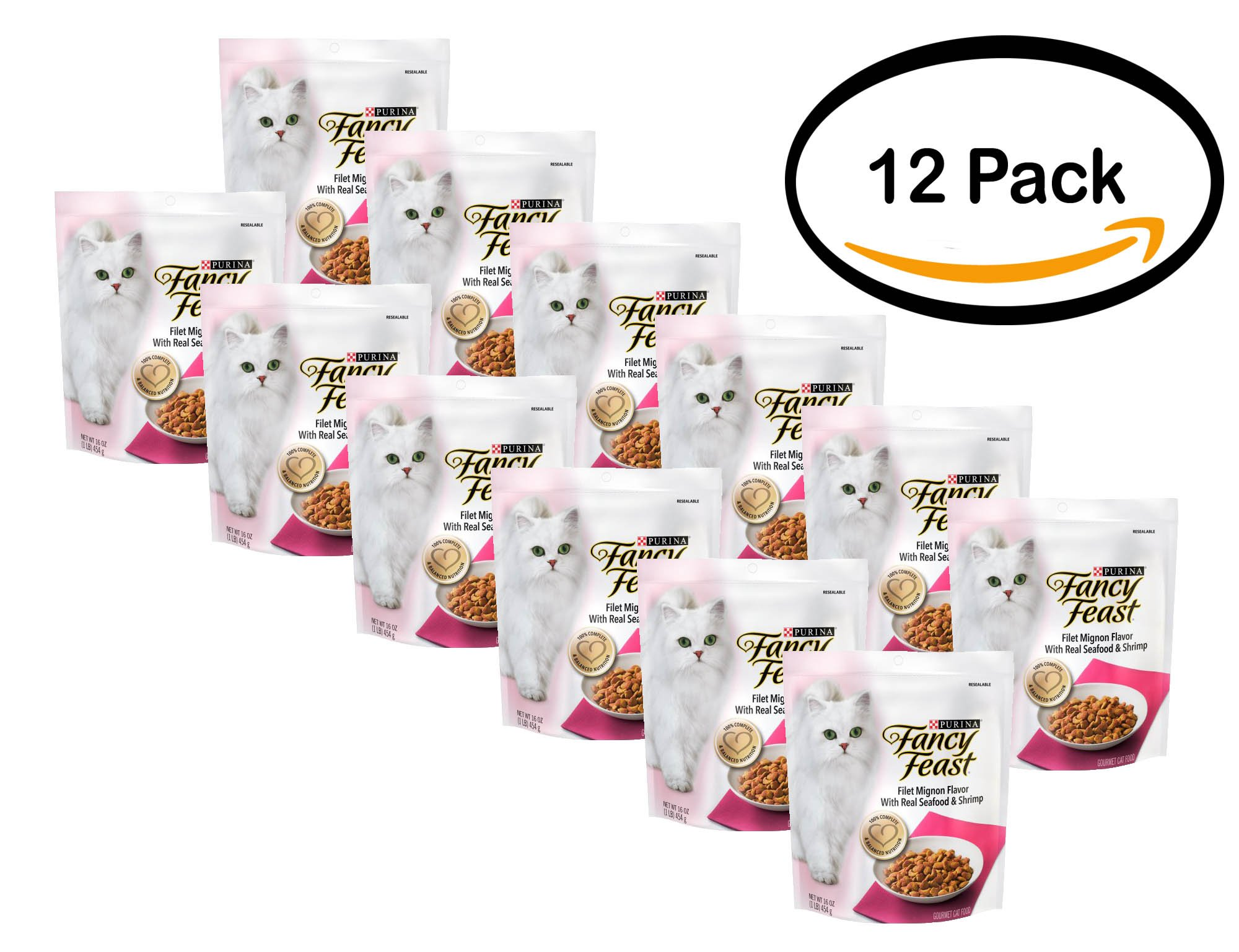 PACK OF 12 - Purina Fancy Feast Gourmet Dry Cat Food Filet Mignon Flavor With Real Seafood & Shrimp 1 lb. Bag