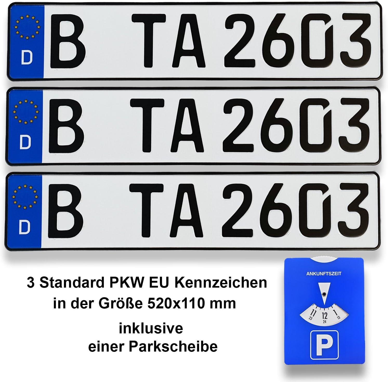 Ta Tradearea 3 Din Zertifizierte Kfz Kennzeichen In Der Standard Größe 520x110 Mm Inklusive Parkscheibe Passend Für Alle Deutschen Fahrzeuge Und Fahrradträger 3 Kennzeichen Auto