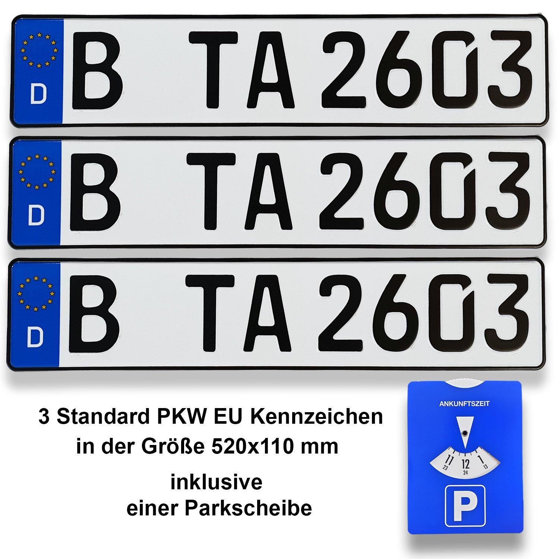 TA TradeArea 3 Standard PKW EU Kennzeichen in der Grö ß e 520x110 mm inklusive Einer Parkscheibe TA TradeArea Net UG